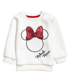 Sweatshirt in soft fleece with a motif at front, snap fasteners on one shoulder, and ribbing at neckline, cuffs, and hem. Girls Clothes Shops, Shirts For Girls, Fashion Kids, Toddler Outfits, Boy Outfits, Woolen Tops, New T Shirt Design, Baby Girl Tops, Sweatshirts