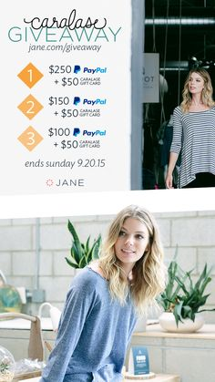 PayPal Cash + adorable clothes from Caralase sounds pretty dreamy right? Thanks to Caralase this dream is now a reality for 3 lucky ladies! Enter this weeks giveaway for a chance to win big!