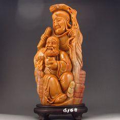 Chinese Natural Shoushan Stone Statue Buddhism Arhats & Dragon