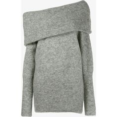 Acne Studios Daze Mohair Jumper (600 AUD) ❤ liked on Polyvore featuring tops, sweaters, one shoulder tops, white mohair sweater, long sleeve tops, gray sweater and white jumper