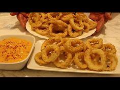 Reteta calamari prajiti - Adygio Kitchen - YouTube Calamari, Onion Rings, Macaroni And Cheese, Shrimp, Meat, Ethnic Recipes, Seafood Recipes, Fish, Kitchen