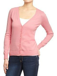 """Womens Button-Front V-Neck Cardis in """"figi pink"""" over the mercury dresses."""