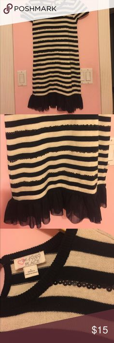 Children place girls dress Black and withe stripes dress with some sequins The Children's Place Dresses Formal