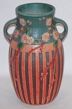 Roseville Pottery Cherry Blossom Pink Vase 626-10 from Just Art Pottery