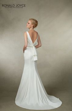 Victoria Jane for Ronald Joyce style 18019 Satin wedding dress with low v back and buttons to hem. www.iconbridal.co.uk