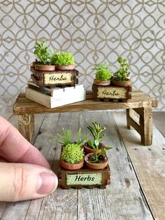 This 1:12 scale miniature crate with four pots of herbs is the perfect addition to your dollhouse garden or fairy garden display. The tiny crate has been stained, distressed and labeled. The hand painted pots have been aged and are filled with moss, faux greens and real soil. The