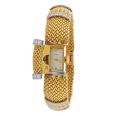 Gold and Diamond Integrated Watch bracelet by #Cartier Visit www.morelledavidson.com for more like this. #Gold #Watch #Jewellery #Antique #Gorgeous #Bracelet