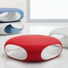 """The stacked tables made me think of a cat condo.... would be cool to figure out a way to make one of organic curvy shapes instead of the square boxes.....    Pebble Coffee Table   by Matthias Demacker  Bonaldo  Finish: Dyed Polyethylene  Material: Polyethylene  Italy  Indoor/Outdoor  Measurements   L 35"""" W 35"""" H 12""""  Weight  30 Lbs"""