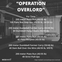 """Operation Overlord"" WOD - For Time: 200 meter Plate Run (45/35 lb)"