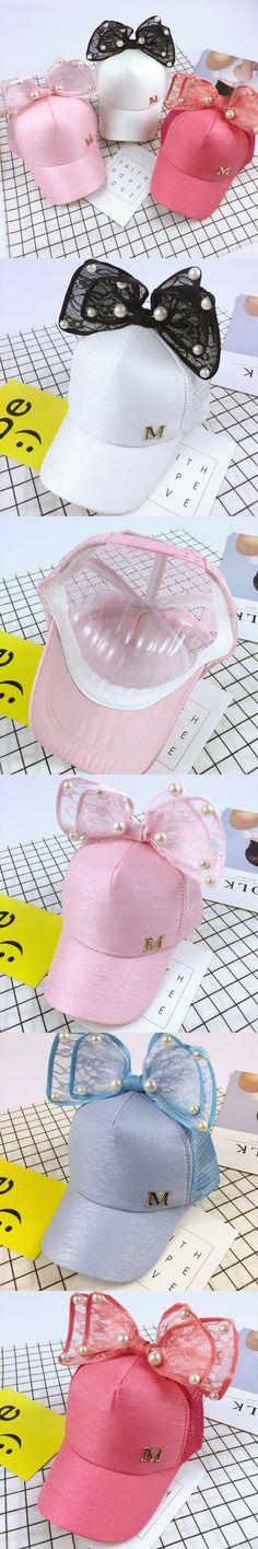 Luxury Big Bow Fashion Summer Kids Black White Pink Lace Floral Baseball Caps With Pearl Children Sun Hats Mesh Caps