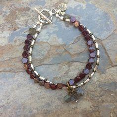 Garnet Bracelet, Artisan Bracelet, Grade AAA Garnet, Grade AAA Labradorite, Hill Tribe Silver, Boho Chic, Double Stranded Bracelet, 7.5 inch