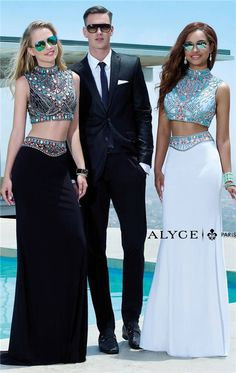 Alyce Prom 6372 Beaded Two Piece Long Prom Dresses 2015