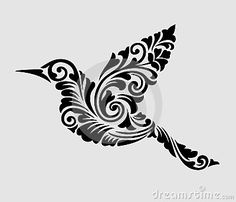 Flying Bird Floral Ornament Decoration Stock Vector - Illustration of border, flourish: 40912986 Owl Stencil, Sign Stencils, Stencil Designs, Tribal Bird Tattoos, Tattoo Painting, Tile Painting, Owl Silhouette, Silhouette Tattoos, Fly Drawing