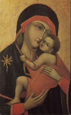"""""""La Bruna"""" este o variantă a « Fecioarei Maria de pe Muntele Carmel », sec. XIII. Numele vine de la tonul întunecat pe care îl are faţa Fecioarei. Piciorul stâng al Copilului pe braţul drept al Maicii. Fară scapulară. /-/-/ """"La Bruna"""" or """"Our Lady of Mercy"""" is a variant of Our Lady of Mount Carmel, 13th c. The icon takes its name from the dark tones of the face of the Virgin. The Child rests His left foot on His Mother's right arm. No scapular."""