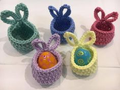 Mini Easter Bunny Baskets - Set of 10 - Crochet Easter Basket - Handmade Easter Basket - Gifts for Easter Easter Baskets To Make, Easter Crochet Patterns, Easter Bunny Eggs, Crochet Rabbit, Diy Ostern, Holiday Crochet, Easter Crafts, Crochet Projects, Pattern Ideas