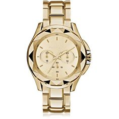 Karl Lagerfeld Women's Watches Karl 7 Iconic Unisex Golden Chronograph... (¥43,365) ❤ liked on Polyvore featuring jewelry, watches, accessories, relogios, gold, women's watches, stainless steel chronograph watch, chronograph wrist watch, roman numeral wrist watch and unisex watches