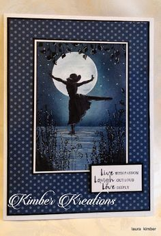 Laura Kimber: Kimber Kreations: Beautiful You 2 - 1/11/17.  (SU: Beautiful You - silhouette made with Copic BV29-Slate). (Tutorial on blog).  (Pin#1: Stampin Up.  Pin+: Silhouettes; Background: Sponging/Masking).