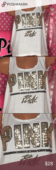 VS pink bling crop tank top Victoria's Secret pink muscled think top white with gold and black sequin graphics size large new with tags's PINK Victoria's Secret Tops Tank Tops