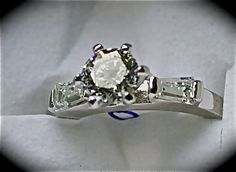 Simulated Diamond Nickel Free Sterling Silver 1.70 ct. Size 7      $40.00