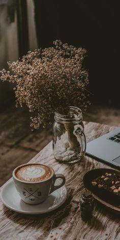 Wallpaper for fall Cozy Aesthetic, Aesthetic Coffee, Brown Aesthetic, Flower Aesthetic, Aesthetic Pastel Wallpaper, Aesthetic Backgrounds, Aesthetic Wallpapers, Coffee And Books, Coffee Art