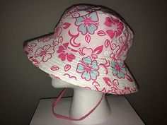 SOLD! WALLAROO HAT COMPANY GIRL'S * KIDS SURF HAT SPF SUN PROTECTION PINK REVERSIBLE