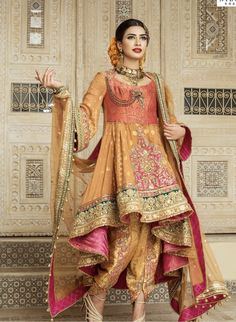 You will be the center of attention in this attire. Pamper the women in you with this magnificent pink and beige color lycra and net wedding wear saree. Team it with the beautiful accessories to make your look more beautiful. Pakistani Wedding Outfits, Pakistani Bridal, Pakistani Dresses, Indian Dresses, Indian Outfits, Shadi Dresses, Wedding Sarees, Bridal Lehenga, Bridal Mehndi Dresses