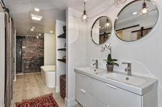Master Bathroom - Boose Butcher Block Shelving, Soaking tub, Barn wood Walls, exposed Brick, White stone tile floors, Kilim Rugs,  4502 N Magnolia Unit 1N Sheridan Park - Uptown - Chicago, Illinois - Christian Schaller Johnson Roberts Associates Architects Inc. 2015 For sale @ $485,000