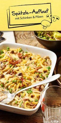 Spätzle sind ein Klassiker und gehen einfach immer! Unser Spätzle-Auflauf wird mit Schinken und Pilzen zubereitet. Geriebener Bergkäse rundet den Geschmack ab und macht diesen Auflauf so besonders lecker. Guten Appetit.