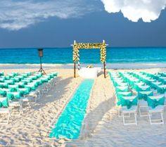 Aqua wedding setting Galloway-N-Ties . Aqua Wedding, Seaside Wedding, Wedding Sets, Wedding Themes, Dream Wedding, Beach Wedding Inspiration, Beach Ceremony, Island Weddings, Beach Themes