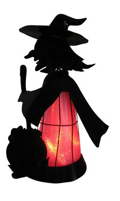 "Halloween Witch Light up 3-D Silhouette Sculpture - 18"" Tall. Changes color. Indoor - Outdoor."
