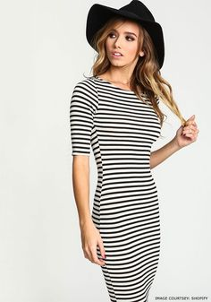 Accessories to try with stripped bodycon dress  #bodycondress #sexyoufit