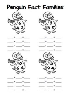 Here's a set of penguin-themed fact families for addition/subtraction.