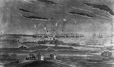 """""""A view of the bombardment of Fort McHenry."""" Drawing by J. Bower, 1819. Public domain."""