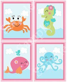 Set of 4 (Under the Sea/Pink Girl Ocean life) 8x10 Matte Art Prints on Etsy, $18.50