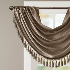 Jla Home Gail Faux Silk Waterfall Embellished Valance Pewter (Silver) Swag Curtains, Curtains With Blinds, Valances, Decorating On A Budget, Interior Decorating, Bronze Dress, Boutique Interior Design, Painting Trim, Acoustic Panels