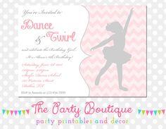 Ballerina Birthday Invitation by APartyBoutique on Etsy, $12.00
