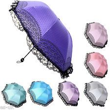 Ladies Sun / UV Protection Leopard Print Lace Edge Foldable Umbrella -- BNWT