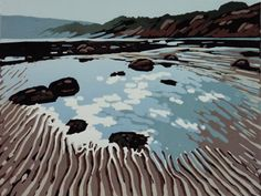 Tide's Out at Robin Hood's Bay - linocut - Alexandra Buckle, U.K.