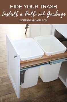 Install a Pull-out Garbage Have a place for your garbage in the kitchen. Hide them in this pull-out trash cabinet.Have a place for your garbage in the kitchen. Hide them in this pull-out trash cabinet. storage & organization ideas from our new kitchen! Primitive Homes, Primitive Bedroom, Primitive Antiques, Primitive Country, Decoration Inspiration, Design Inspiration, Decor Ideas, Kitchen Inspiration, Diy Ideas