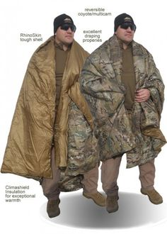 Kifaru Woobie -- The Woobie was originally envisioned as a modern replacement for the USGI poncho liner. It combines RhinoSkin Shell with ClimaShield combat insulation. The Woobie uses 2 oz/square yard of insulation and the Doobie (Double Woobie) uses 4 oz/square yard of insulation.