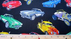 Vintage Car Cotton Fabric by Timeless Treasures by seamstolast