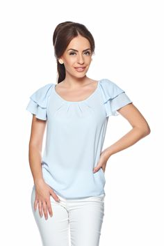 LaDonna Summer Color LightBlue Blouse, slightly transparent fabric, voile fabric, frilly sleeves