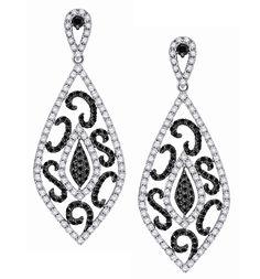 Contrast Trend- KC Designs Black & White Diamond Earrings