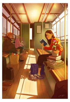 personal illustrations and paintings by yaoyao ma van as Cartoon Kunst, Cartoon Art, Character Art, Character Design, Reading Art, Girl Reading, Cute Illustration, Friends Illustration, Family Illustration