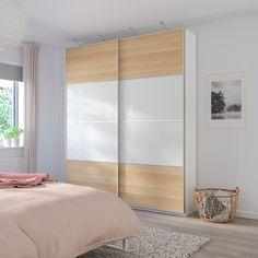 IKEA - MEHAMN 4 panels for sliding door frame white stained oak Malm, Wardrobe Systems, Pax Wardrobe, Pax Closet, Wardrobe Storage, Pax System, Closet System, Pax Planer, Powder Coating Wheels