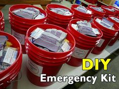 Survival Zombie Apocalypse: ~ Build Your Own Bucket Emergency Kit. Everyone should have one of these emergency buckets packed and ready to go. If you only ever do one thing for emergency preparedness, put together one of these kits. Homestead Survival, Survival Prepping, Survival Skills, Survival Gear, Survival Hacks, Survival Stuff, Survival Quotes, Survival Items, Survival Equipment