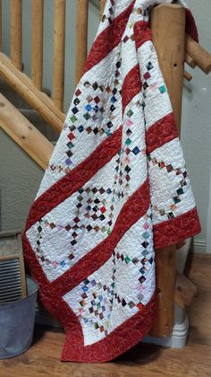 """QM Scrap Squad: Keri Blankenship's """"Tell Me of Your Mini Charms"""" version of the Candy Cane Crush quilt pattern from Quiltmaker's Nov/Dec '15 issue."""