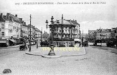 ancienne carte postale de Schaerbeek Place Liedts - Avenue de la Reine et rue du Palais