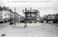 ancienne carte postale de SchaerbeekPlace Liedts - Avenue de la Reine et rue du Palais