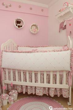 enxoval berço rosa floral Baby Bedroom, My Baby Girl, Cribs, Toddler Bed, Furniture, Home Decor, Floral, Nursery Mobiles, Bedroom Organisation